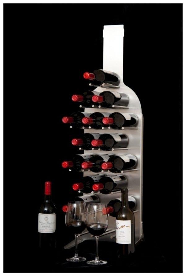Design Wijnrek Beaujolais Groot - RVS - Duurzaam - Mooi - Flessenrek - RVS Wijnrek - Wijn