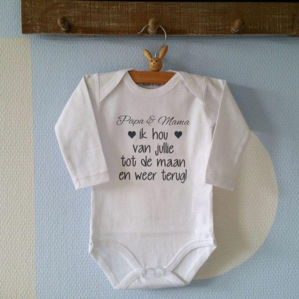 Rompertje Papa en mama ik hou van jullie tot de maan en weer terug   Lange mouw   wit   maat 50/56 Geboorte Cadeau / Kraamcadeau Baby cadeautje