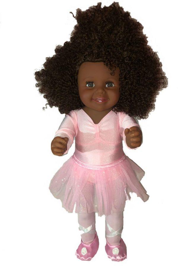 Bella Ballerina- Bruine meisjes pop- Bruin krullend haar- Complete Ballerina outfit- Bijbehorende balletschoenen- 16 inch- 40 cm babypop-Donkere pop- Komt in eigen verpakkingsdoos- Bellasupplies