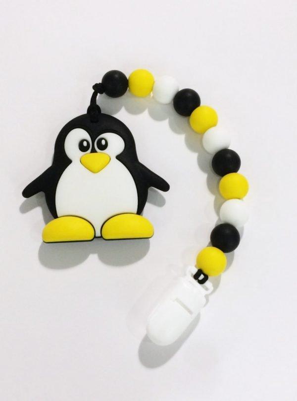 Bijtspeeltje met clip Pinguin