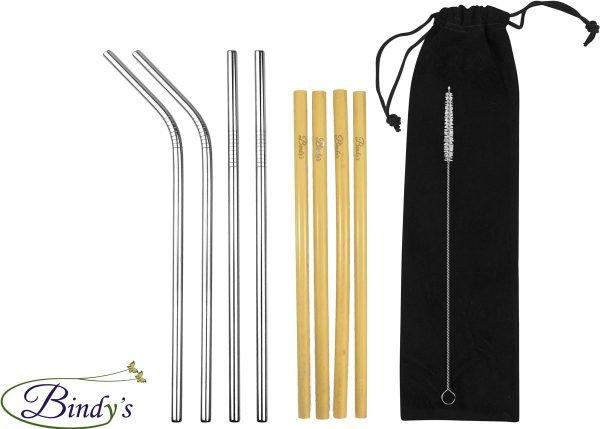 Bindy's - 10-delige Set Herbruikbare Rietjes Mix - Duurzaam Geschenk Idee - 4 RVS Rietjes - 4 Bamboe Rietjes - incl. Schoonmaakborsteltje en zwart fluwelen bewaarzakje - Milieuvriendelijk en Stijlvol