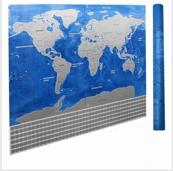Blue Ocean Wereld Kraskaart (57,5 x 81,5) - Scratch map - World Edition