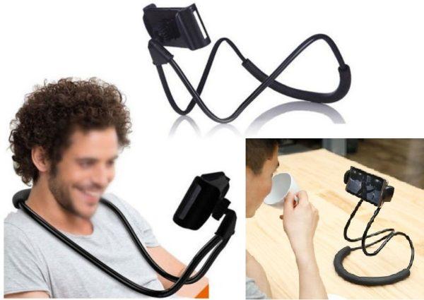 Lazy neck telefoonhouder - smartphone houder voor je nek - cadeau - buigbaar en universeel - Zwart