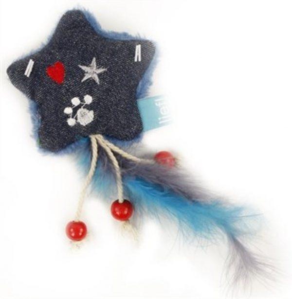 Lief! Kattenspeelgoed - Ster Met Veren Uni Met Catnip Donker Blauw - 15X6X3 CM