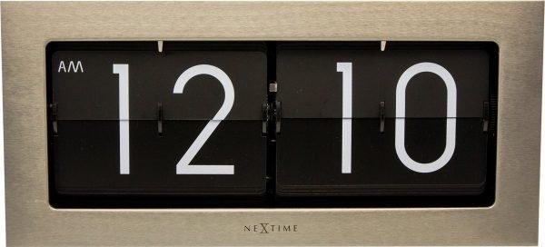 NeXtime Big Flip - Klok - Flipklok - Rechthoekig - 36x16,7 cm - Zilverkleurig