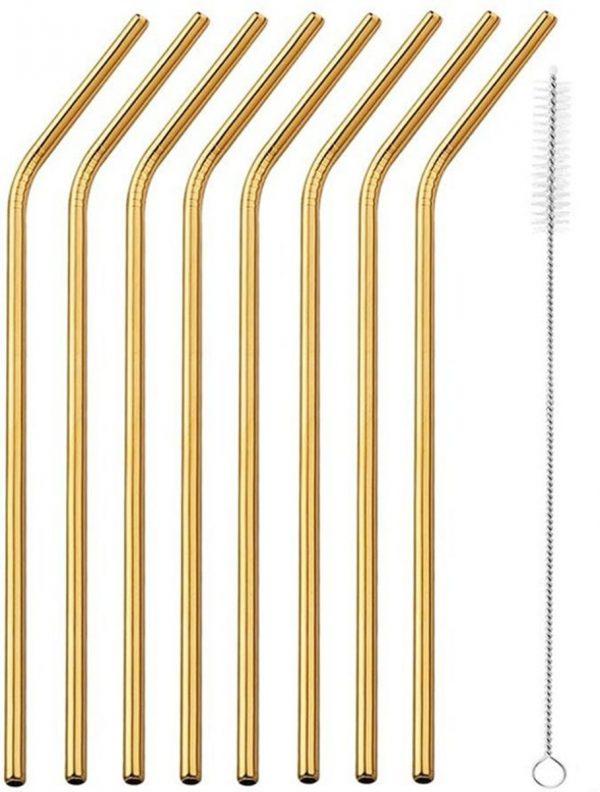 Premium RVS Rietjes van Goodly - 6 stuks - Goud - Milieuvriendelijk - Herbruikbaar - Inclusief Schoonmaakborstel - Ideaal voor Cocktails en Smoothies - 7-delige set - Gebogen