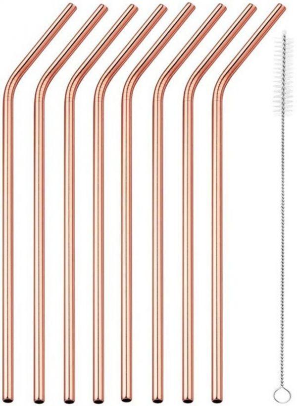 Premium RVS Rietjes van Goodly - 6 stuks - Rose Goud - Milieuvriendelijk - Herbruikbaar - Inclusief Schoonmaakborstel - Ideaal voor Cocktails en Smoothies - 7-delige set - Gebogen