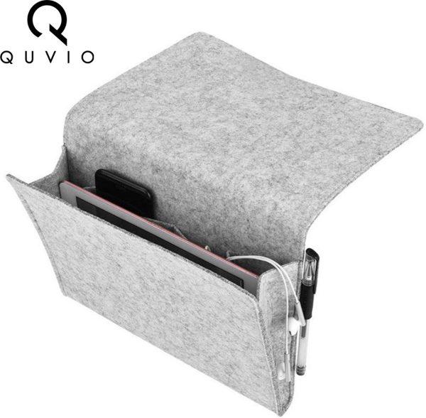 QUVIO Bed en bank organizer / Vilten opbergvak voor bed en bank - Grijs