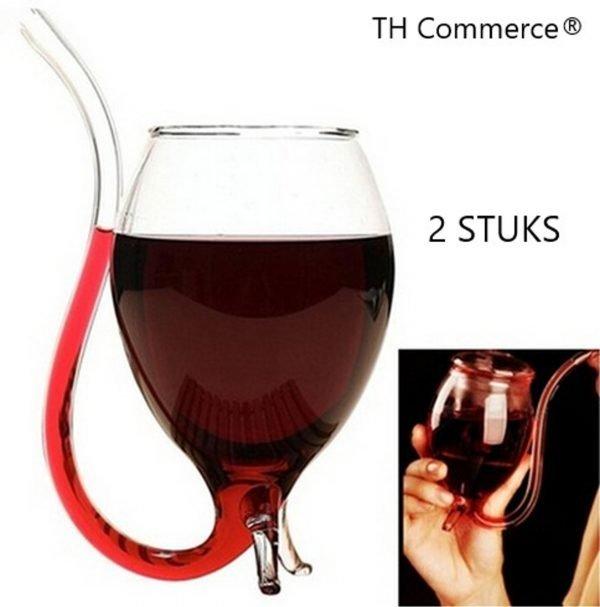 WIJNGLAS MET DRINK TUIT - MODERN ONTWERP - TE GEBRUIKEN VOOR ELKE WIJN -2 STUKS nr 6696