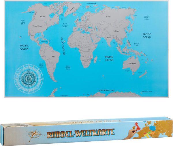 Wereldkaart Kraskaart - 88 x 52 cm