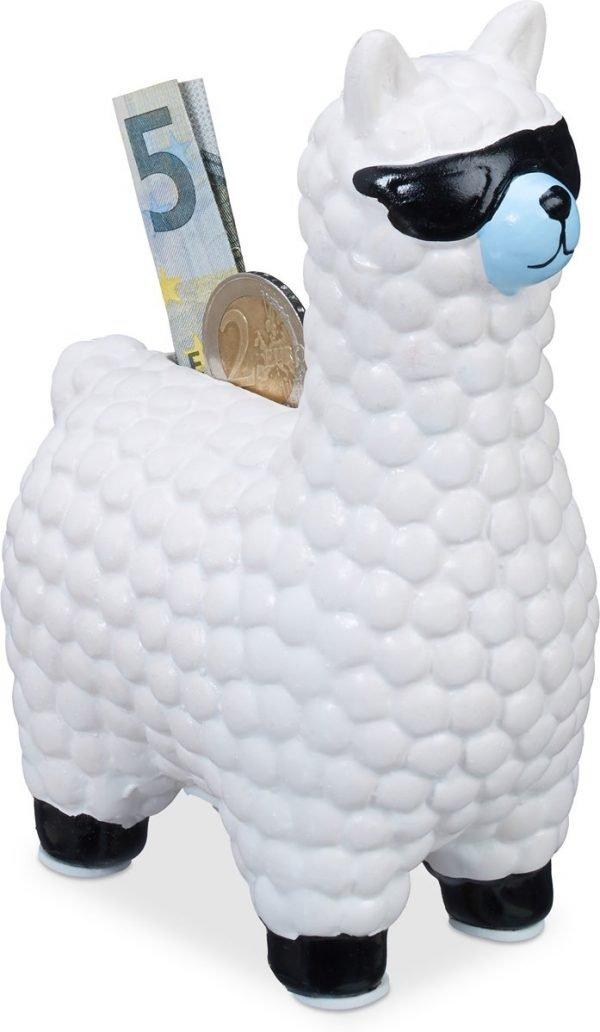 relaxdays Lama spaarpot met zonnebril - spaarvarken - spaarpotje - alpaca - keramiek wit