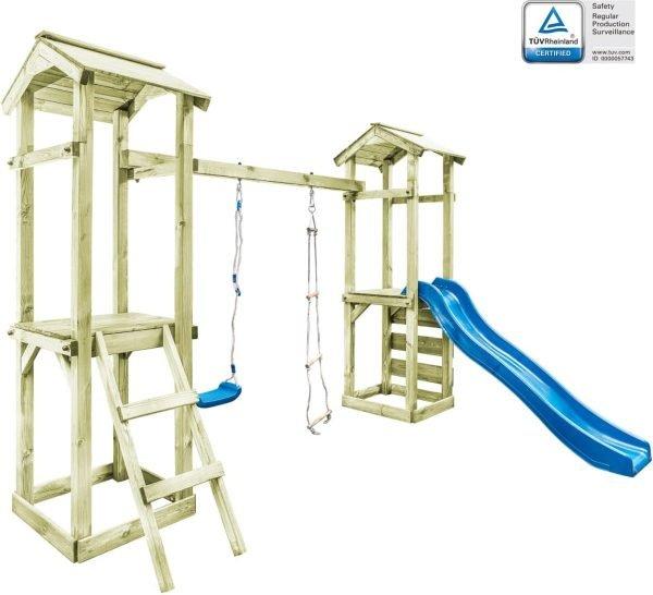 vidaXL Speelhuis ladder. glijbaan en schommel 300x197x218 cm FSC hout