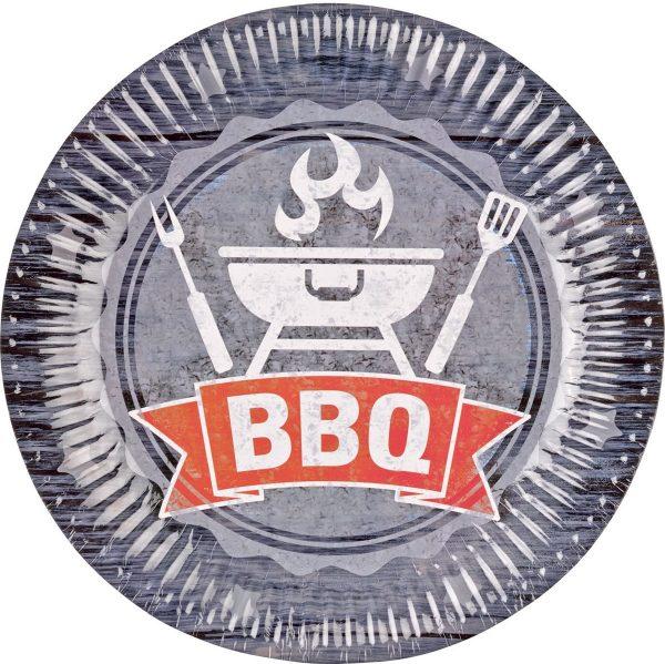 Amscam Papieren borden BBQ grijs (8 stuks)