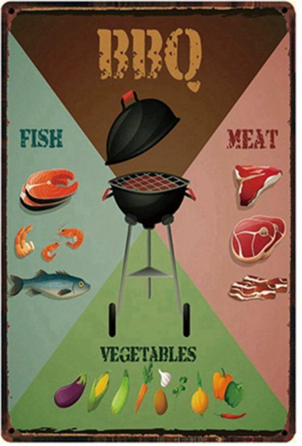 BBQ - Barbeque - meat - vis - vlees - Eten - tuin Metalen wandbord - vintage - retro - nostalgie reclame - decoratie - 8898