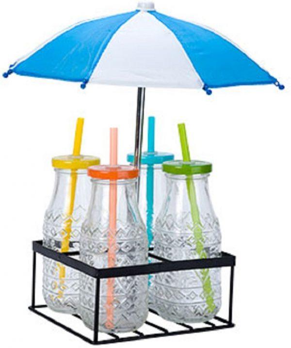Cosy & Trendy Houder 4 Drankflesjes Met Paraplu