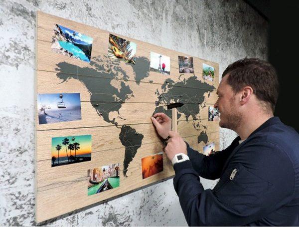 Houten Wereldkaart Memories | 105cm x 60 cm | Personaliseer de Wereldkaart met je vakantiefoto's | Met 100 GRATIS koperen pins