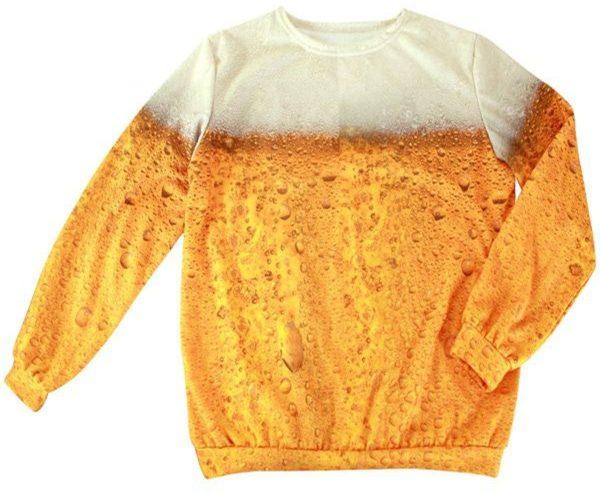 Boeren Tirol & Oktoberfest Kostuum | Goud Gele Rakker Bier Fleece Trui | Medium | Bierfeest | Verkleedkleding