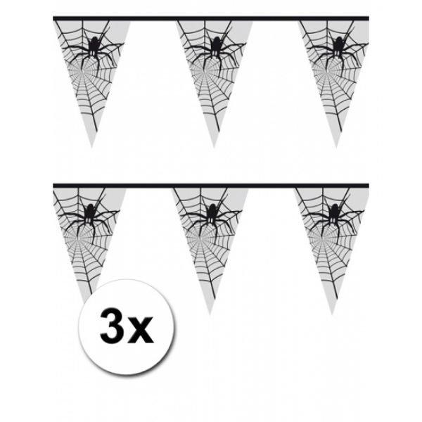 3x Halloween Spinnenweb versiering 6 meter