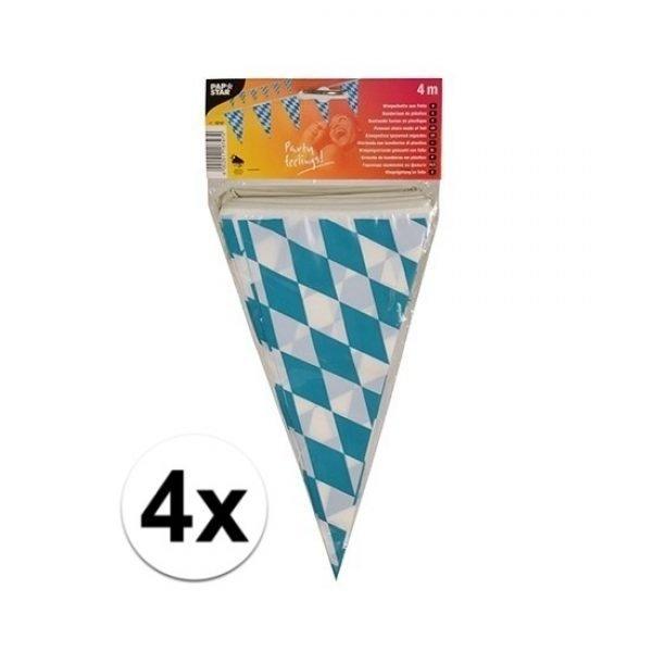 4x stuks Vlaggetjes van Oktoberfest Bayern van 4 meter