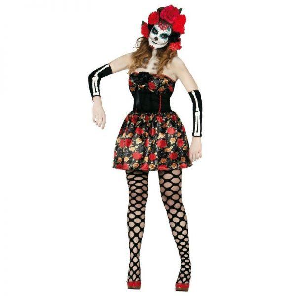 Day of the Dead Halloween verkleed jurkje voor dames 38-40 (S/M) Multi