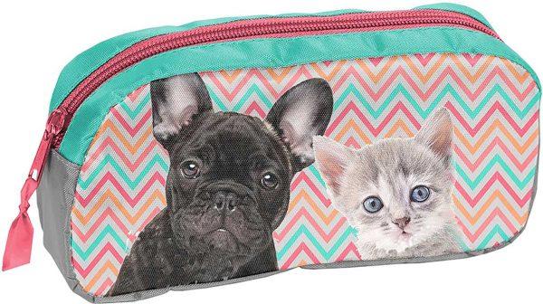 Etui - Kat en Hond - voor Meisjes - 20 cm - Roze - Blauw