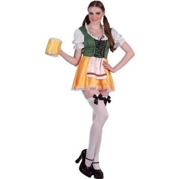 Groene/gele bierfeest/oktoberfest jurkje verkleedkleding voor dames M/L (T-04) Multi