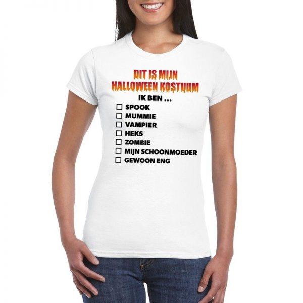 Halloween dames shirt checklist wit