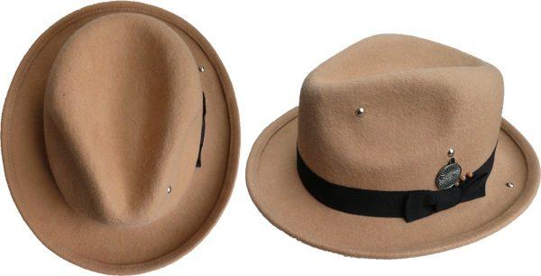 Hippie fedora boho hoed camel maat 58 - Bohemian hipster hoed - Fedora hoed voor festival - Unisex rockstar hoed - camel zandkleurig maat 58