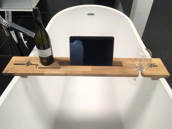 Houten Badplank Tuba (links) - Tablet houder - Boek houder - luxe badkamer product om te ontspannen - cadeau voor hem of haar - universeel - origineel cadeau voor Pasen