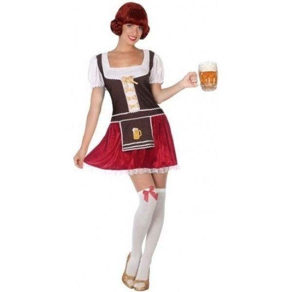 Oktoberfest dirndl jurkje rood fluweel voor dames XL (42-44) Multi