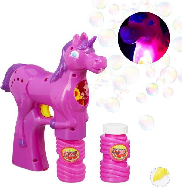 relaxdays Bellenblaas pistool eenhoorn - LED - bellenblaasmachine - batterijen - unicorn roze