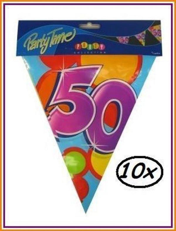 10x Leeftijd vlaggenlijn 50 jaar - Vlaglijn feest festival abraham sara vlaggetjes verjaardag jubileum leeftijd