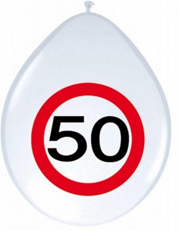 16x stuks Ballonnen 50 jaar verkeersbord versiering