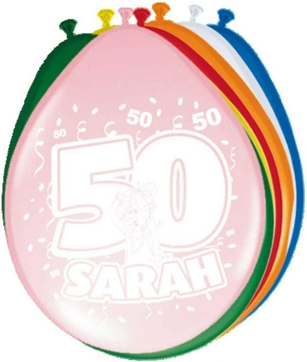 16x stuks Ballonnen versiering 50 jaar Sarah
