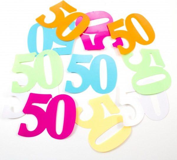 24 stuks mega confetti 50 jaar thema feest versiering