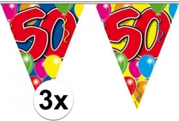 3x stuks leeftijd versiering vlaggenlijnen / vlaggetjes / slingers 50 jaar geworden thema 10 meter