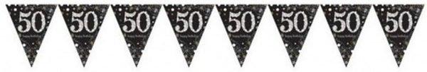 4x 50 jaar vlaggenlijn zwart 4 meter - leeftijd feestartikelen versiering