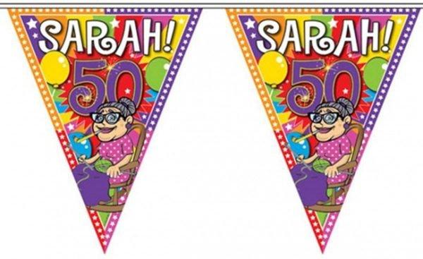 4x Leeftijd versiering vlaggenlijn / vlaggetjes / slinger Sarah 50 jaar geworden thema 10 meter