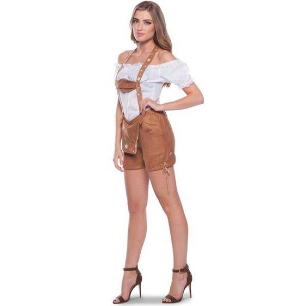 Bruine bierfeest/oktoberfest lederhosen kort broekje verkleedkleding voor dames L/XL (40-42) Bruin