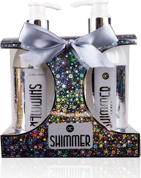 Kerst badset Shimmer Zilver Lemongras & Salie - Cadeau pakket vrouwen - moeder - vriendin - echtgenote - Valentijn cadeau - Romantisch cadeau