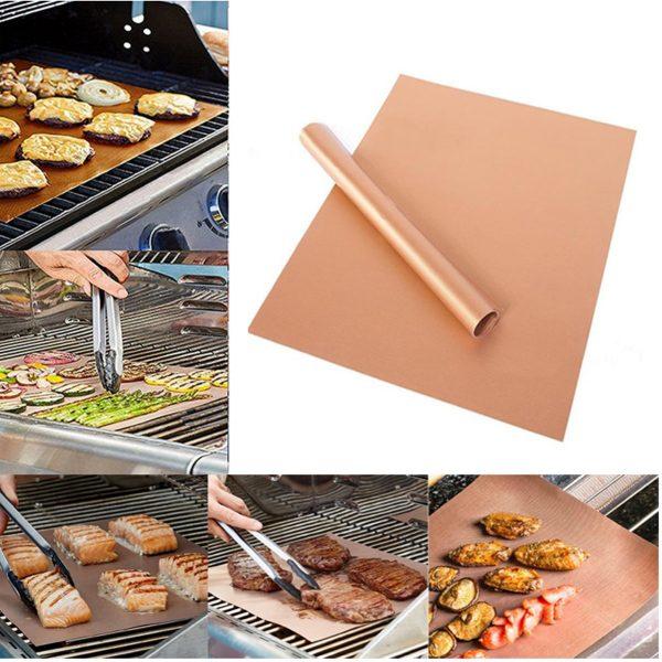 2x Barbecue Matje | Beste Kwaliteit Ovenbeschermer | BBQ Matje Ovenbestendig | Oven Mat Koper Teflon | Herbruikbaar & Anti kleef | 2 stuks van 40*33 cm