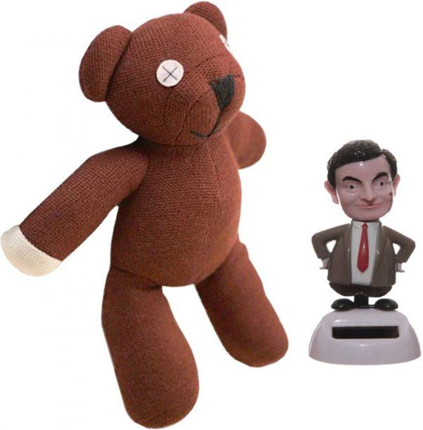 Mr. bean pakket beer knuffel teddy teddybeer + mister bean solar poppetje beweegt op kunstlicht en zonlicht.