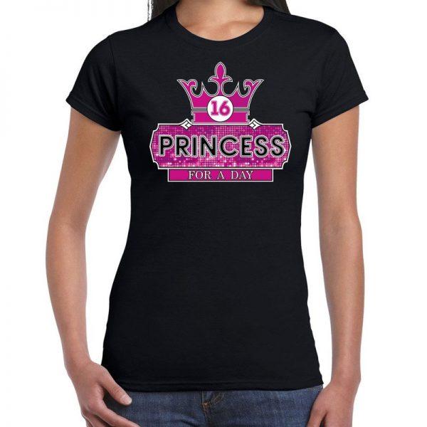 Princess sweet 16 shirt voor verjaardag zwart voor meiden/dames XS Zwart
