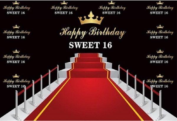 Verjaardag - Versiering - Wanddoek van stof - 120cm(b)x80cm(h) - Sweet Sixteen - 16 jaar