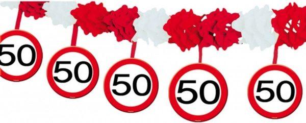 Verkeersbord feestslingers 50 jaar - 4 meter - feestartikelen versiering 50 jaar