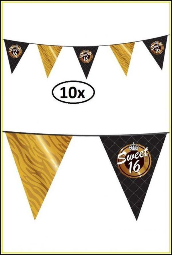 10x Vlaggenlijn Sweet Sixteen 10 mtr - verjaardag 16 jaar thema feest party festival