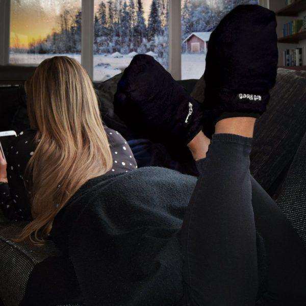 Hot Feet Magnetron Sloffen Deluxe - Zwart