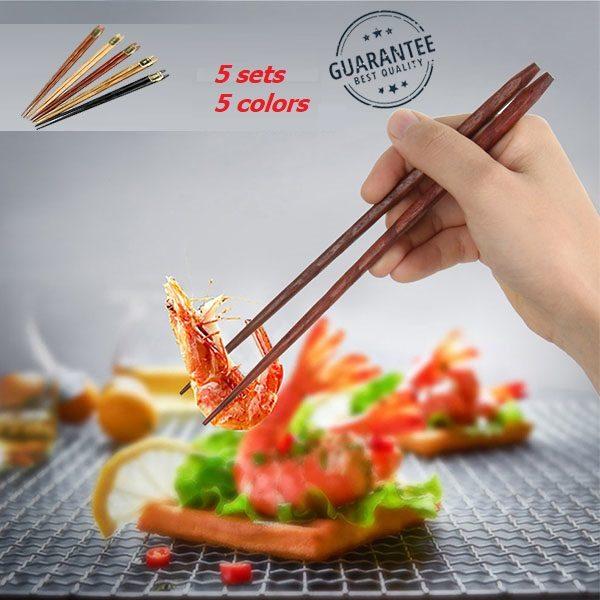 Japanse Eetstokjes - Bamboe - 23 cm - Herbruikbaar - 5 Paar - 5 verschillende kleuren
