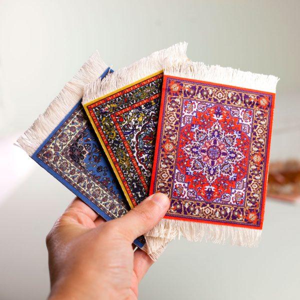 Invotis Perzisch tapijt onderzetters (set van 4)