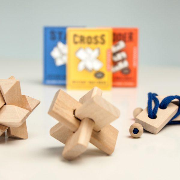 Kikkerland Houten mini puzzel (assorti)